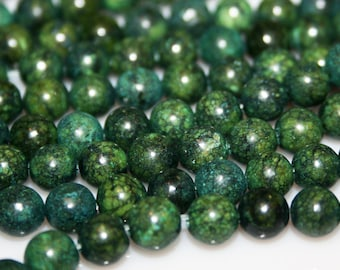 "Russian Serpentine Gemstone Beads 6mm 16"" strand 20 grams 67 pieces"