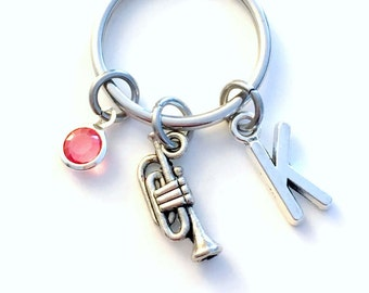 Trumpet KeyChain, Brass Horn Key Chain, Instrument Music Keyring Band Musician Gift teen teenager teenage girl women woman boy present him