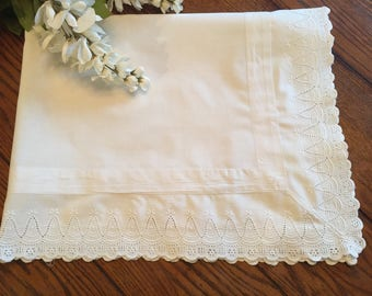 White Tablecloth Cottage Style Small Table Cover or Pillow Layover Vintage Linens