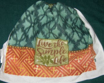 """Crochet hanging towel, """"Live The Simple Life"""",  sage  top"""