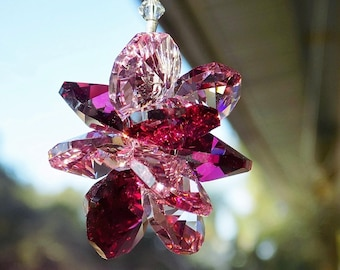 Pink Red Discontinued Swarovski® Crystal Suncatcher for Home or Car, Pink Red Crystal Starburst Cluster, Rear View Mirror Decor