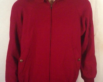vtg 80s Pendleton red Ladies 100% Wool Chin Strap Jacket harrington SZ M