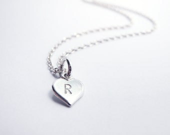 Custom Initial Tiny Heart Necklace, Personalized, Sterling Silver - Mother gift, Anniversary Wedding Bridesmaid Gift, Delicate Fine Jewelry
