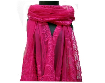 Magenta colored scarf/ net scarf/ embroidered  scarf / fashion scarf/ long scarf/ gift scarf / gift ideas.