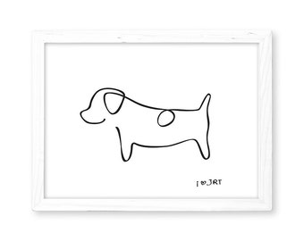 JRT Print - Abstract Jack Russell Terrier Line Drawing, Home Decor, Picasso Inspired JRT Print, Minimalist Dog Print, I love JRT, Dog Print