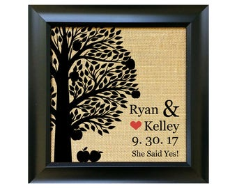 ENGAGEMENT Gifts for Couple Engagement Gift for Couples Fall Theme Apple Trees Orchard Wedding Bridal Shower Fiance Bride Presents w/ FRAME