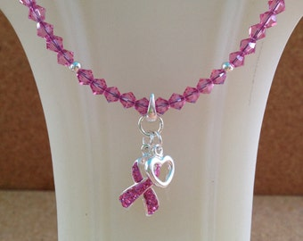 BREAST CANCER Awareness Necklace w/ Swarovski Pink Crystal & Sterling Silver Ribbon Heart Pendant - Charm - Any Size - Made in USA