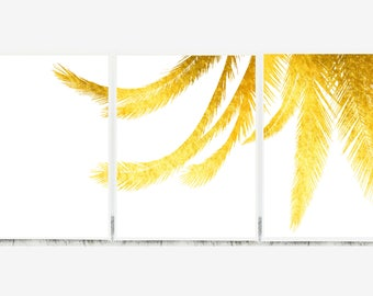 Set of 3 Gold Wall Art, Triptych Modern Art, Set of 3 Digital Prints, Triptych Beach Tryptic Beach Print Set of 3 Prints Living Room Tryptic
