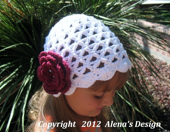 Crochet Pattern 015 - Lace  Beanie Hat  with  Rose - Baby Toddler Child Teen Adult Lace Hat Spring Easter Summer Hat Crocheted Flower White