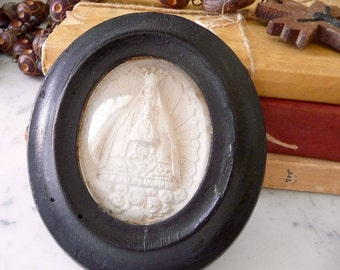 Antique Reliquary French Meerschaum Virgin Mary with Child French Chalkware Ex Voto Reliquary Meerschaum Wall Hanging
