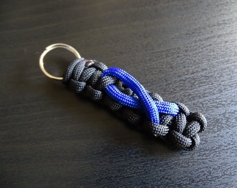 Colon Cancer Awareness 550 Paracord Keychain - Black/Blue