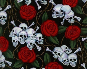 Alexander Henry Skull and Red Rose fabric, rose fabric, skull fabric, pirate fabric