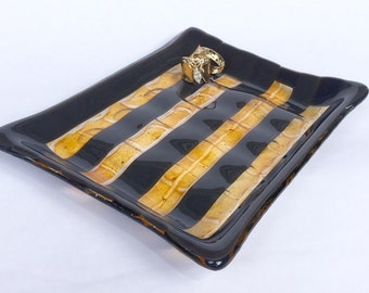 Gift for Coworker, Bathroom Soap Dish, Draining Soap Dish, Soap Holder, Bathroom Decor,  Coin Dish, Fused Glass Creation