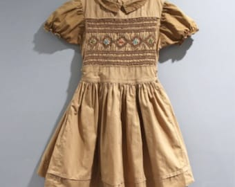 Vintage Girls Size 5 Smocked Dress Brown Tan 1950s