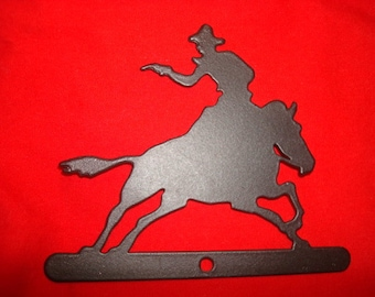 "Vintage Stencil Cowboy w/ gun and hat on Horse Metal Black finish 3 1/4"" x 3 3/4"" Art Project Craft"