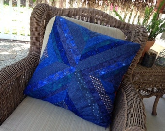 Blue Red reversible pillow, Scrappy Strip Quilted Pillow, housewarming gift