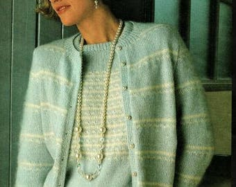 Ladies Twinset Cardigan And Jersey Knitting Pattern, instant download pdf, sizes 8 to 20 inch chest, knitted in 7 ply yarn or wool