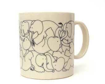 Vintage Elephant Coffee Mug Taylor Ng Elephants Playing, Herd Elephants Naughty, Elephant Orgy, Vintage Pachyderm Mug Taylor & Ng 1979 Japan