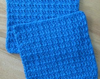 Blue Crochet Cotton Dishcloth set of 2
