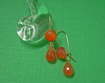 Carnelian Earrings - Double Carnelian & Gold-Filled Dangle Earrings - Gemstone Earrings