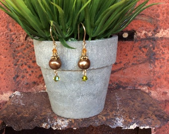 Freshwater Pearl, Swarovski Crystal and Gold filled Earrings