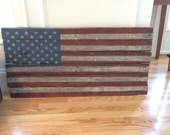 Vintage Hand Painted Wood Sign American Flag Antique