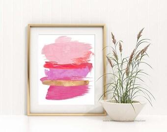 Abstract Art, Pink Bedroom Art, Modern Abstract Art, Pink Abstract Art, Contemporary Home Office Wall Art, Pink Art, Hot Pink Art