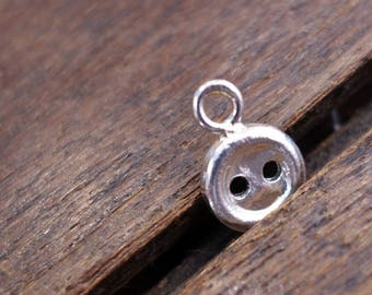 STERLING SILVER Button charm pendant