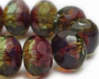 Czech Glass Rondells 8 mm Fuchsia Green Yellow  Picasso Beads 025/0542