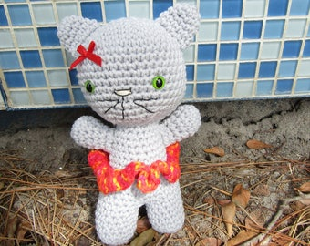 Gigi the Gray Girl Kitten. Plush Amigurumi Kitten. Stuffed Toy Kawaii Cat. Cute Crochet Cat. Stocking Stuffer. Gift for Kids & Cat Lovers