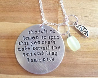 This Is Us - Lemonade hand stamped necklace/keychain - Pearson family