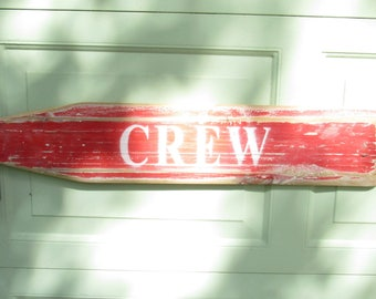 Vintage Crew Oar, Red Rowing Crew Oar Paddle, Lake House Decor, River House