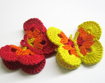 Crocheted Butterfly Appliques 2pc in red, orange and yellow, 3 inches wide