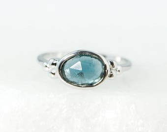 Natural Oval London Blue Tourmaline Ring –Organic Shape Ring- Solid 10kt white gold - Indicolite