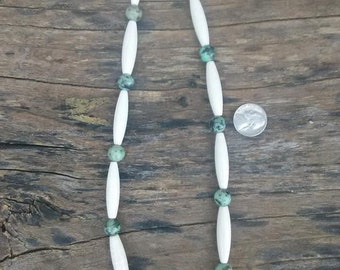 BIG Turquoise and Marble HairPipe Necklace