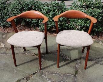 Pair of Danish Solid Teak Arm Chairs rare mid century modern new fabric wegner