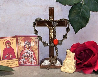 The Red Egg, a Mary Magdalene One-Decade Catholic Rosary  from the Special Edition Handcrafted Art Chaplets & Prayer Beads Series