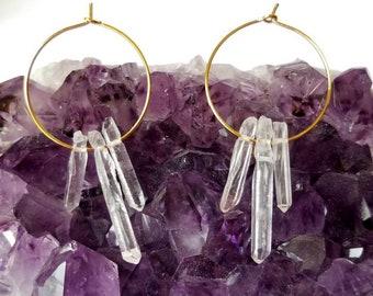 Raw Crystal Earrings | Raw Quartz Hoop earrings | Raw Quartz Earrings | Healing crystals | Raw Stone Earrings