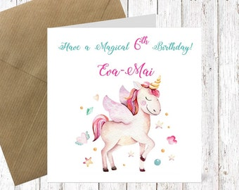 6th birthday card etsy personalised birthday card year old card happy birthday card baby card magical unicorn card birthday card bookmarktalkfo Images
