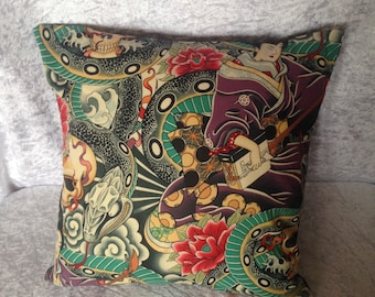 Handmade Japanese Tattoo Style 16 Inch Cushion Cover