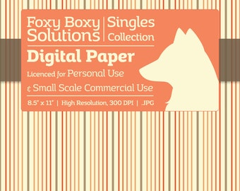 Pastel Stripes Digital Paper - Single Sheet in Brown & Orange on a Cream Background - Printable Scrapbooking Paper