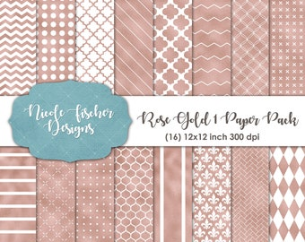 Rose Gold 1 Patterned Paper Pack -INSTANT DOWNLOAD
