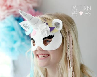 Unicorn Costume  Unicorn Mask Pattern  Unicorn Party PDF Felt Unicorn Mask Pattern  Unicorn Birthday Party  Unicorn Party Favor