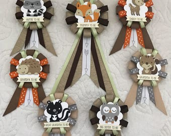 Family ribbon corsages for baby shower - woodland animals - gender neutral - fox - deer - hedgehog - racoon - squirrel - skunk - owl