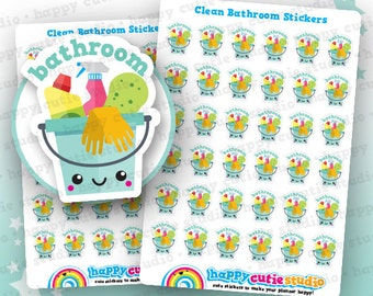 36 Cute Clean Bathroom/Shower/Chores Planner Stickers, Filofax, Erin Condren, Happy Planner,  Kawaii, Cute Sticker, UK