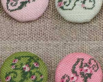 Cross stitch rose alphabet buttons to cover