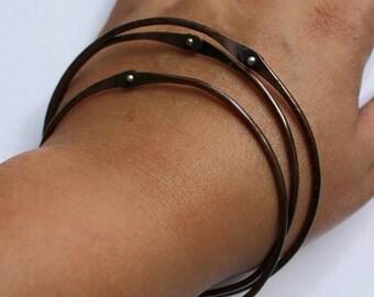 Riveted Bangle, Copper Bangle, Copper Bracelet, Sterling Rivet, Copper And Sterling, Stacking Bracelets, Stacking Bangles, Rivets