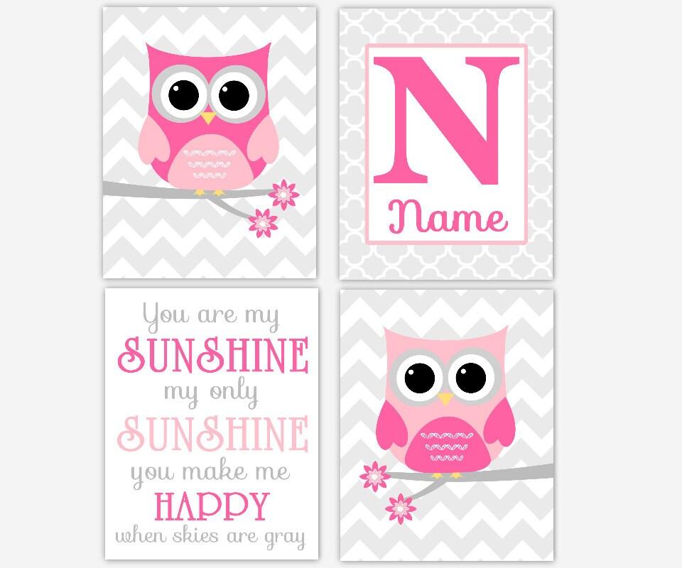 My Baby Girl S Nursery: Owl Baby Girl Nursery Art Pink You Are My Sunshine