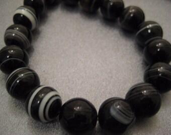 Black Sardonyx 14mm Round Beads 28pcs