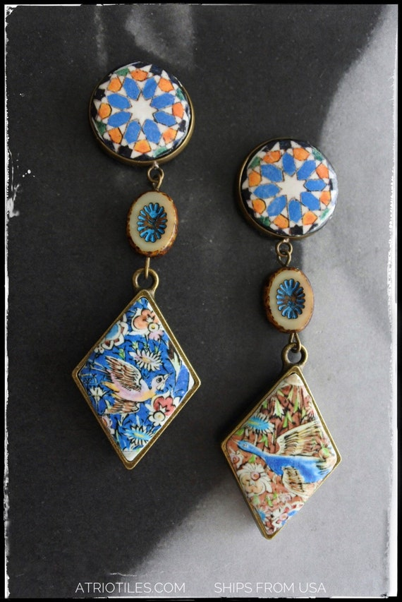 Earrings Persian Tile Birds Antique Qajar Persia Turkish Arab Bohemian Middle Eastern Majolica Ethnic Birds Czech Glass Beads Ships from USA
